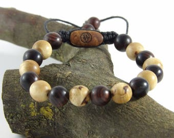 Bracelet made of curly birch and wood violet-Bracelet man-Woods beads gemstones-made hand Taamak