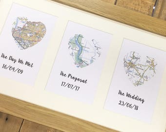 We met We live We married- Triple map heart custom made frame- Wedding gift- Anniversary gift- Engagement gift- Valentines Day Gift