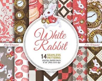 SALE 50% OFF White Rabbit at Wonderland Digital Paper Pack Seamless Pattern Alice in Wonderland Checkered Heart Spade Diamond Pocket watch B