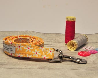 Dog lead - Dog leash - Yellow dog lead - Floral dog lead - Puppy lead - Girl dog lead -  Boy dog lead - Puppy gift - Fabric dog lead