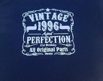 Happy birthday, birthday shirt, 21st birthday, 21st birthday shirt, vintage birthday shirt, vintage birthday, custom birthday shirts, 1996