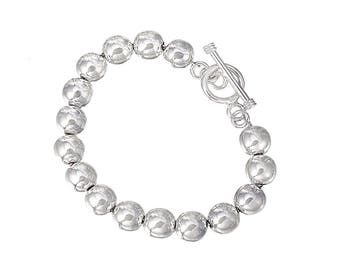 Sterling Silver Beads Bracelet, Silver Bead Bracelet, Statement Bracelet, Classic Bracelet, Heirloom Jewelry, available in 10mm 12mm.