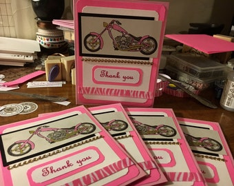 Thank you cards 5 Handmade one of a kind Cards  blank inside girl power pink motorcycle and bling
