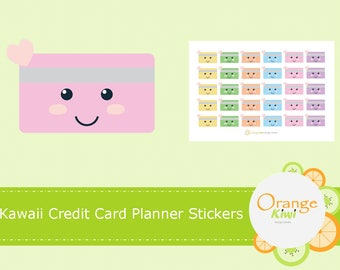 Kawaii Credit Card Planner Stickers, Financial Stickers, Money Stickers, Credit Card Stickers, Kawaii Planner Stickers