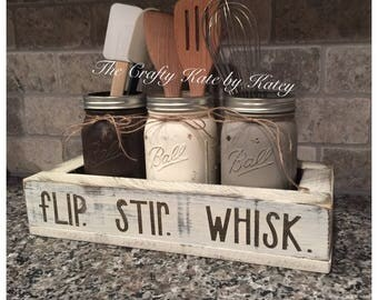 Utensil Holder, Kitchen Utensil Holder, Flip Stir Whisk, Farmhouse Kitchen Decor, Farmhouse Decor, Kitchen Caddy, Farmhouse, Kitchen Decor