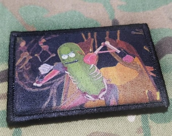 Pickle Rick Running Rat Fight Tactical Military Morale Patch with Velcro Brand Hook Backing Rick And Morty