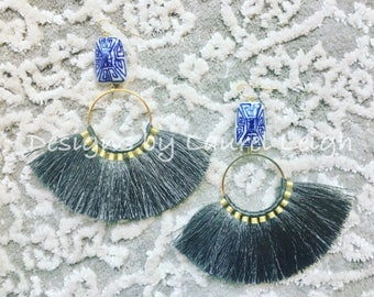 GREY Fringe Earrings | blue and white, chinoiserie, statement earrings, gold, gray, lightweight, big earrings