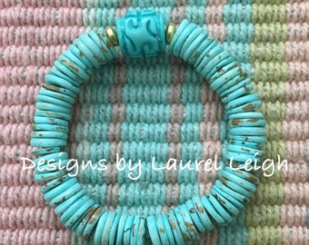 Chinoiserie Beaded Bracelet | TURQUOISE, AQUA, MINT, gold, stretchy, Chinese, Asian