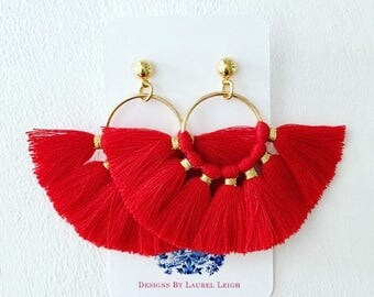 RED and Gold Fringe Fan Earrings | tassel, lightweight, statement earrings, post, posts, Designs by Laurel Leigh