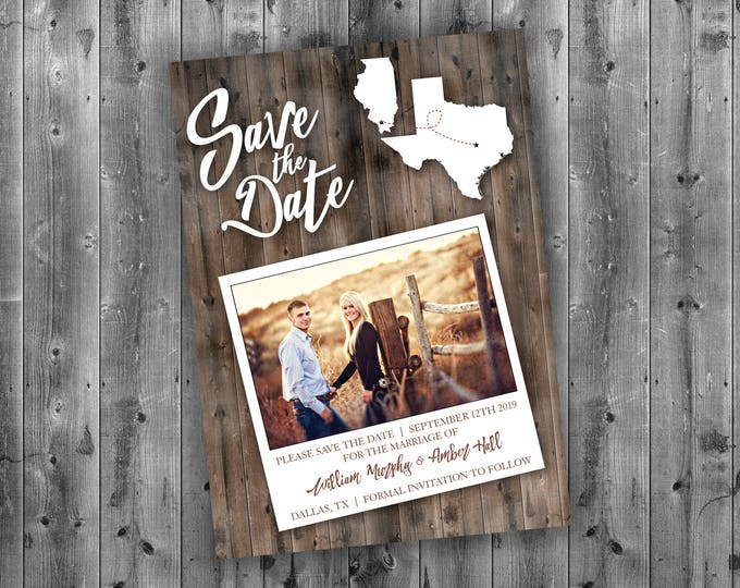 Rustic Save the Date Cards, State Save The Date, Affordable, Cheap, Wedding Invitations, Lights, Calendar, Wood, Country, Postcard