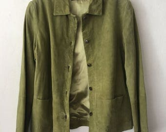 Really chic suede jacket, stylish jacket, vintage style mid length designer jacket modern kitsch style women's green size - small.