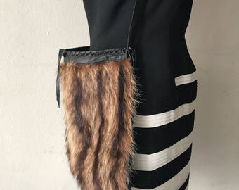 Hand made fur bag .