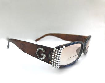 Bi-Focal Tinted Reading glasses with Swarovski Crystals +3.00 +3.50 +4.00