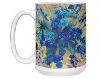 Large Flower Coffee Mug, Flower art, Pretty flower bouquet painting, Colorful Garden Mug