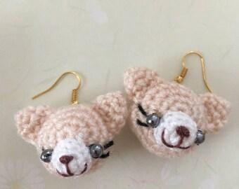 Teddy bear earrings-handmade