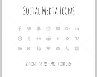 Social Media Icons - 21 icons in 5 sizes, PNG files, light grey, solid icon