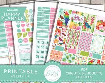 Weekly Planner Printable Stickers, Happy Planner Weekly Stickers, Printable Weekly Planner Kit, Mambi Planner Stickers Kit, HP131