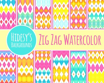 Watercolor Digital Paper - Zig Zag Pattern / Commercial Use Backgrounds