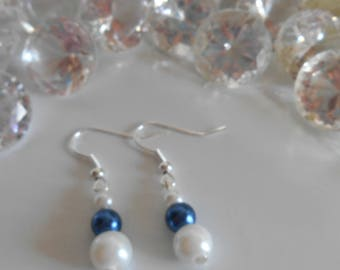Wedding earrings white and Royal Blue beads