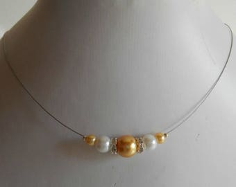 Bridal rhinestone and Pearl yellow gold and white