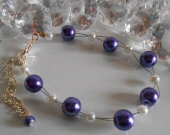 Wedding bracelet twist of purple and white beads