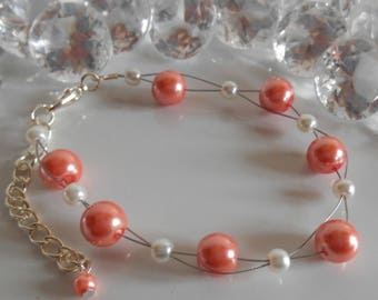 Wedding bracelet twist of coral and white beads