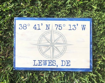 Custom Coordinate Compass Sign, Latitude Longitude, Address, Wall Decor, Nautical, Personalized, Wall Art, Hand Painted