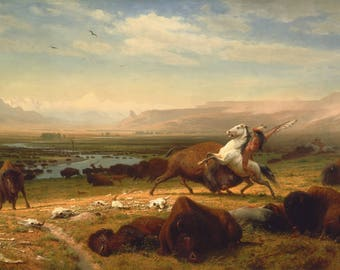 Last of the Buffalo by Albert Bierstadt - Poster A3 or A4 Matt, Glossy or Art Canvas Paper