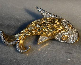 Signed Butler Highly Detailed Elegant Figural Fish Brooch Pin Pave Rhinestones Basksetweave Pattern Zodiac Sign Pisces