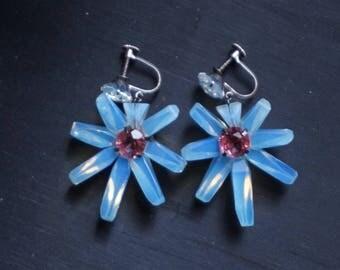 Silver Glowing blue-flash Moonstones Earrings