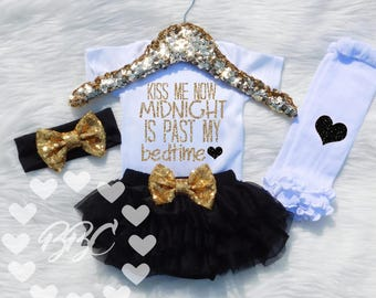 Baby Girl Clothes, Girls New Years Outfit, Kiss Me Now, My First New Years, Black and Gold Glitter Bodysuit, Opt Set, One Piece