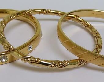 Set of 3 Monet Gold Tone Bangles Bracelets 1980s with Original Box