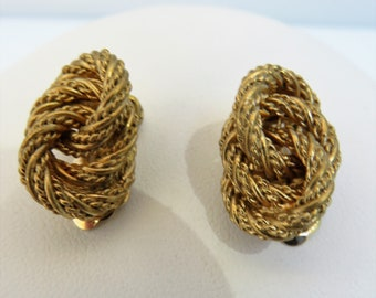 Christian Dior Gold Tone Twisted Rope Earrings - Clip On - 1980s