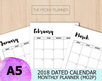 2018 Calendar | A5 Printable | DATED MONTHLY Planner Insert | MO2P | Filofax, Kikki K Planners