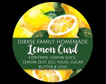 Customized Lemon Curd Label - Watercolor Style Canning Jar Label - Wide Mouth & Regular Mouth - Watercolor Custom Lemon Canning Label
