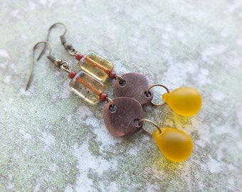 Bohemian Earrings,Long Earrings, Copper Earrings, Dangle copper earrings, Yellow earrings