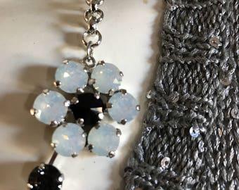 Swarovski 8mm floral necklace in blacks and white hues