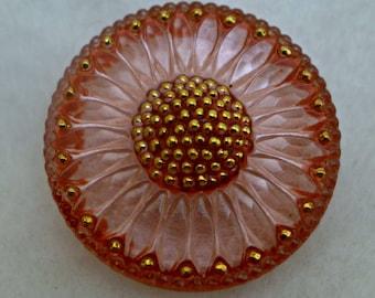 Czech glass button - peach pink - 32mm
