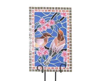 Cedar Waxwing in Cherry Blossom Mosaic