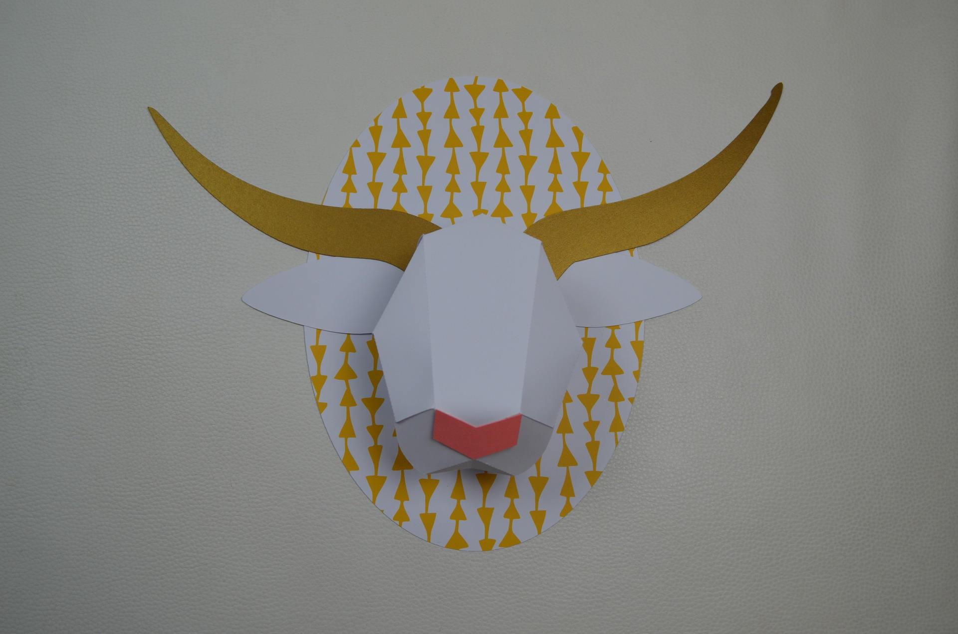 decoration murale troph e papier origami. Black Bedroom Furniture Sets. Home Design Ideas