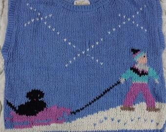 Vintage Jantzen Handknit Sweater size Large Blue Chunky Sleeveless Graphic Sled Dog Winter