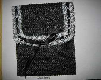 Pouch bag black, white lace and black satin ribbon lined
