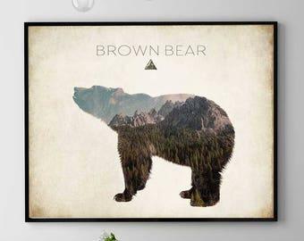 Brown Bear Print, Bear Wall Art, Woodlands Animal Painting, Bear Poster, Forest Spirit, Bear Home Decor, Kids Room  (N422)