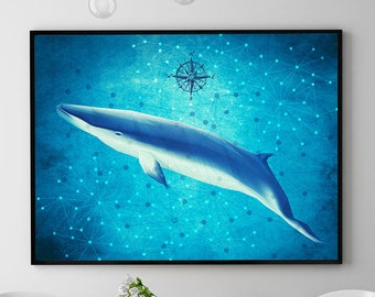 Mink Whale Print, Coastal Decor, Whale Painting, Marine Poster, Ocean Wall Art Decor, Home Decorations, Kids Room (N425)