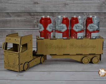 Happy Birthday Wooden Gift Box Truck Laser Cut Different Colors