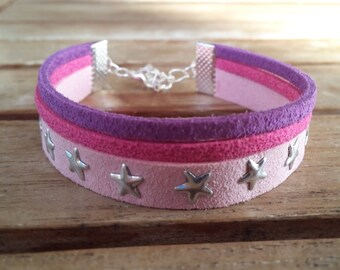 Suede with star rivets, pink, fuchsia and purple bracelet