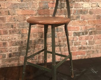 Vintage Pollard Shop Stool Chicago, Il Adjustable Industrial Seating