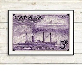 P133 City of Toronto, steam ship, sailing ship, Toronto Portlands, Lake Ontario, steamer ship, cargo ship, steamship print, sail boat art
