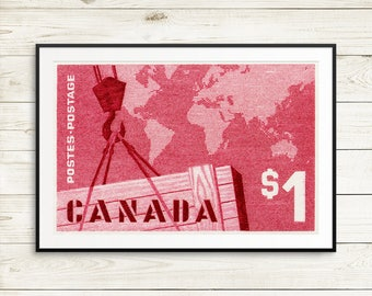 P109 Shipping, Canada Shipping, Shipping industry, Canadian Shipping, Canadian Postage, large wall art, large red poster, Canadian wall art