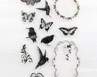 Birds, Butterflies, and Frames Clear Stamp Set of 12